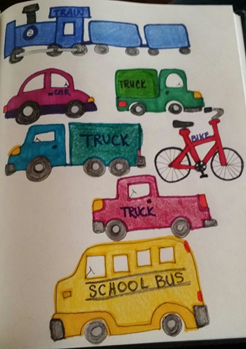 Crayola Supertips Washable Markers & Colored Pencil vehicle drawings